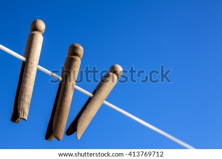 clothes pegs on a clothesline