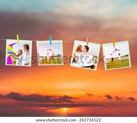 Clothes pin holding Easter photos outdoors