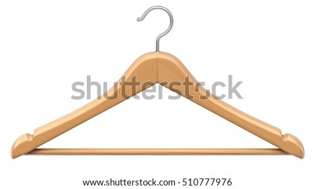 Clothes wood coat hanger isolated on white background - 3D illustration