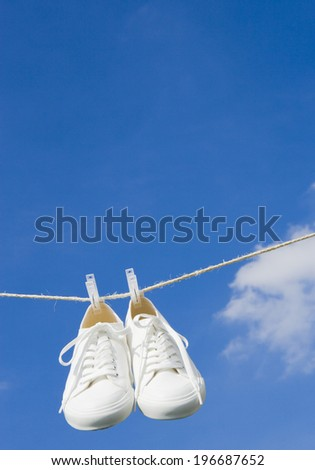 clothesline in outdoor - stock photo
