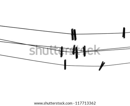 Clothespins on the rope. Silhouette on white background. - stock photo