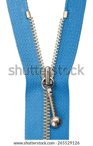 Clothing accessory: half open blue metallic zipper