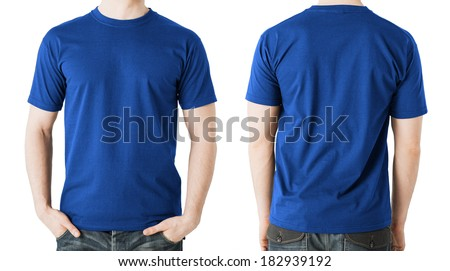 clothing design concept - man in blank blue t-shirt, front and back view - stock photo