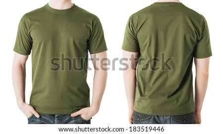 clothing design concept - man in blank khaki green t-shirt, front and back view - stock photo