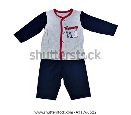 Clothing for baby isolated on white background, selective focus. Clipping path included.