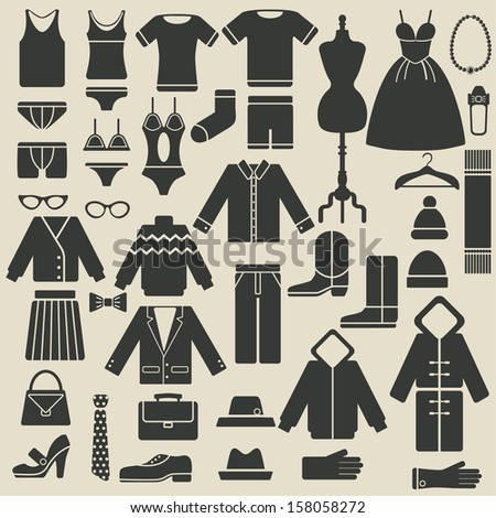 clothing icons - raster version  - stock photo