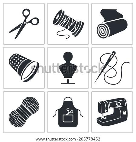 Clothing manufacture Icons set - stock photo