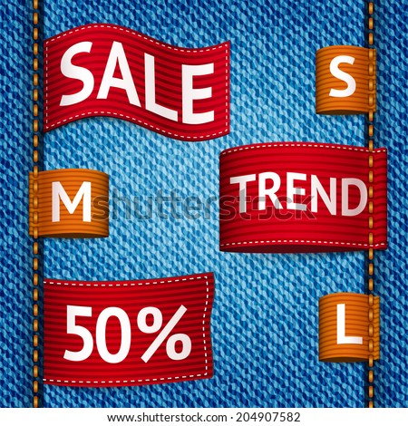 Clothing size trend sale colored label ribbon set on denim background  illustration - stock photo