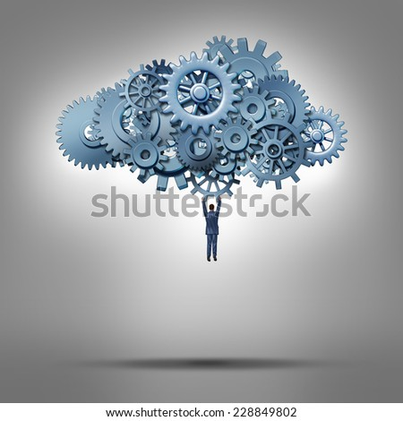 Cloud access and database hosting concept as a businessman hanging from a group of gears as a symbol for virtual internet computing solutions and online communication technology management. - stock photo
