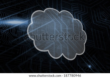 Cloud against futuristic black and blue background