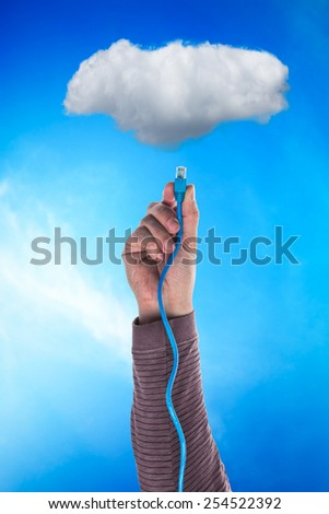 Cloud and a cable - stock photo