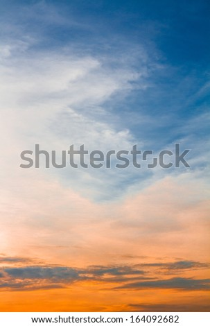 Cloud and golden light in twilight time  - stock photo