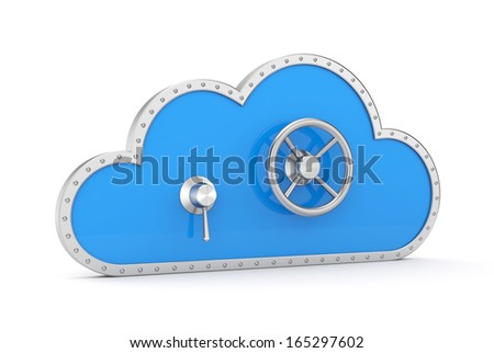 Cloud and safe lock. Secure metaphor. - stock photo