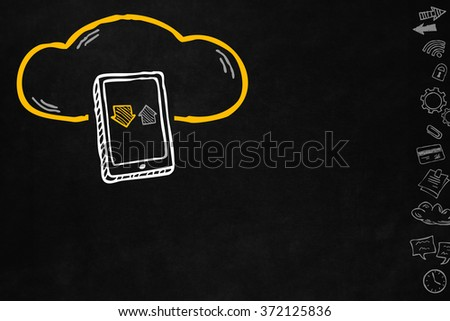 Cloud and sharing connections for tablet. Sharing online data through internet with network and wireless connection. Hand drawn cloud connection with tablet isolated on blackboard with copyspace. - stock photo