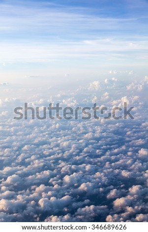 Cloud and sky formations seen from the plane - stock photo