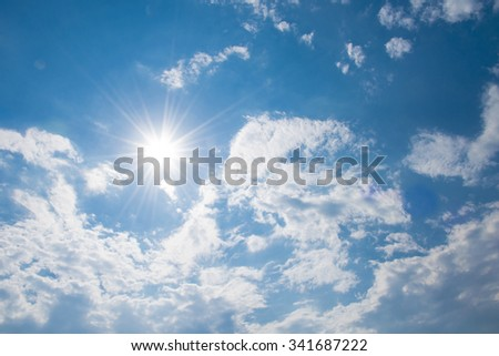 cloud and sky with sunshine - stock photo