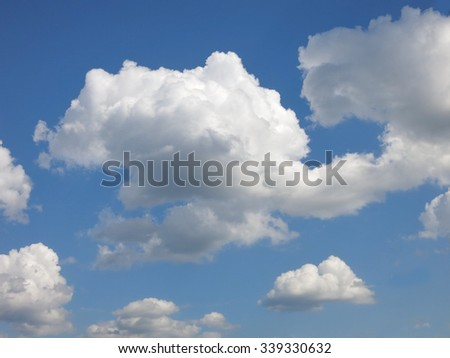 cloud and summer sky, Blue sky with clouds flow follow wind background, rain clouds. weather forecast.                           - stock photo