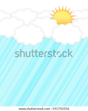 Cloud and Sun on blue background