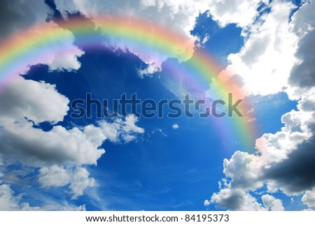 cloud blue sky background cloudy texture rainbow - stock photo