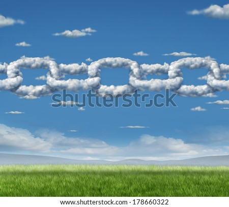 Cloud chain network business concept as a group of clouds shaped as a linked chain connected together as an icon of financial and technology cooperation or environmental air quality partnership. - stock photo