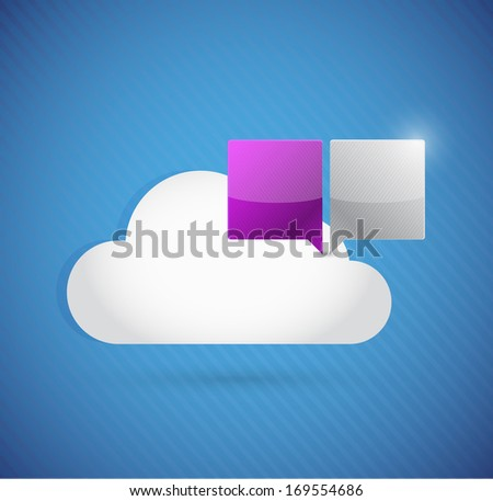 cloud computing and communication concept illustration design over a blue background