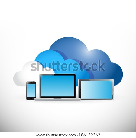 cloud computing and electronics. illustration design over a white background