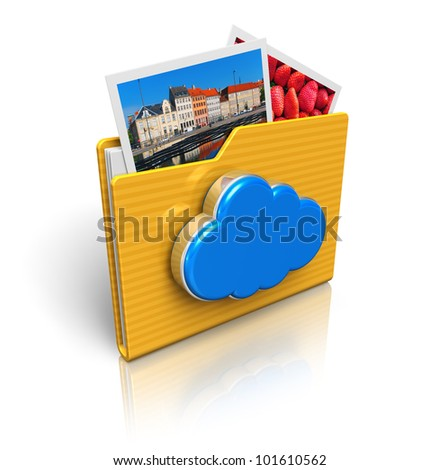 Cloud computing and media storage concept: folder icon with photos and blue glossy cloud icon isolated on white background with reflection effect - stock photo