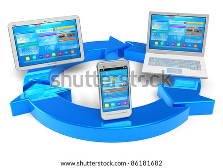 Cloud computing and wireless networking concept: white tablet PC, smartphoe and laptop connected with blue round arrows isolated on white background - stock photo