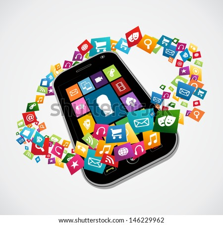 Cloud computing apps icon set concept background.