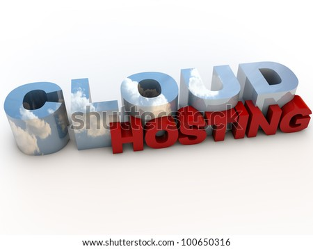 Cloud Computing as Hosting Service over white Background - stock photo