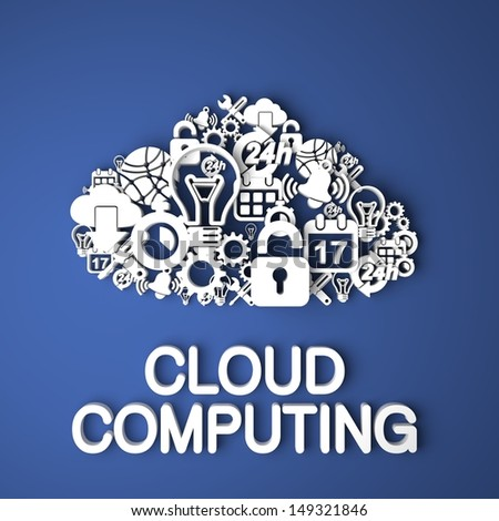 Cloud Computing Card Handmade from Paper Characters on Blue Background. 3D Render. Business Concept. - stock photo