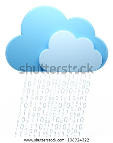 Cloud computing, code rain. - stock photo