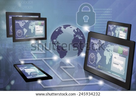 Cloud computing. Computer generated image representing different devices connected developing the same project. - stock photo