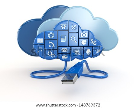 Cloud computing concept. Apps and usb. 3d - stock photo