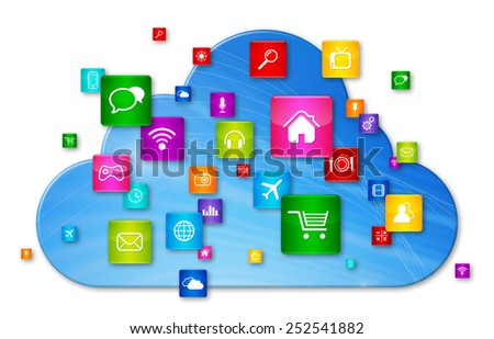 Cloud Computing concept. apps icons set isolated on white - stock photo