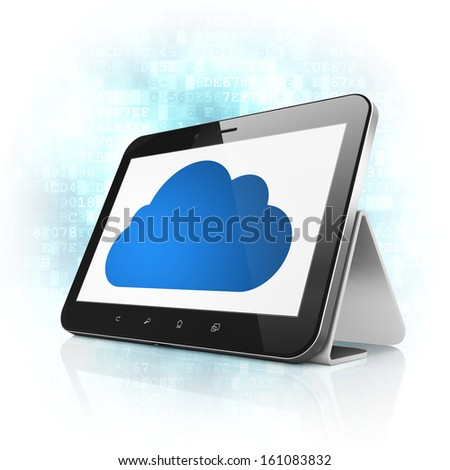 Cloud computing concept: black tablet pc computer with Cloud icon on display. Modern portable touch pad on Blue Digital background, 3d render