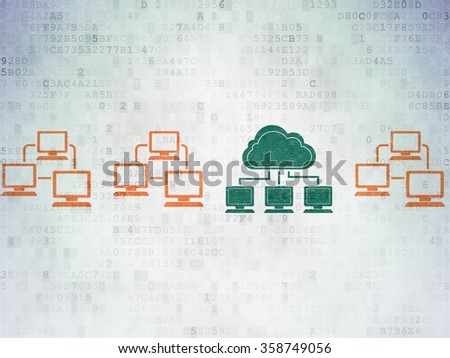 Cloud computing concept: cloud network icon on Digital Paper background