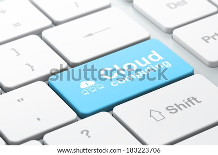 Cloud computing concept: computer keyboard with Cloud Network icon and word Cloud Computing, selected focus on enter button, 3d render - stock photo
