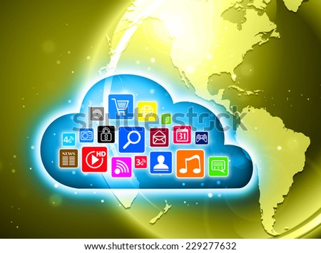 Cloud computing concept design suitable for business presentations, infographics, etc. - stock photo