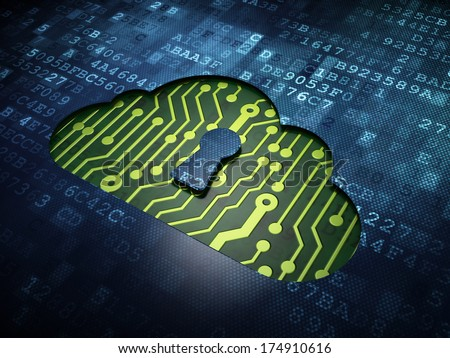 Cloud computing concept: digital screen with icon Cloud With Keyhole, 3d render - stock photo
