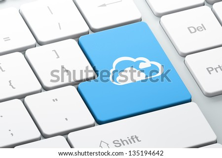 Cloud computing concept: Enter button with Cloud on computer keyboard background, 3d render - stock photo