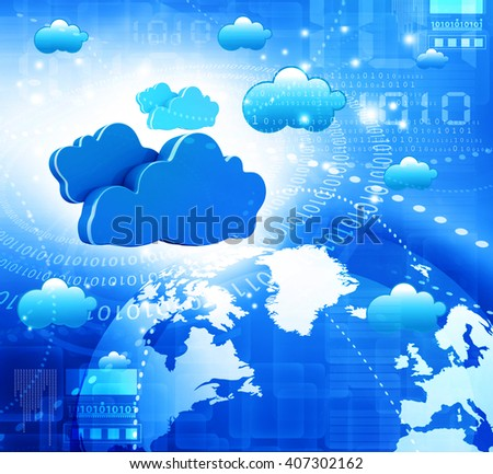Cloud computing concept, global computer network 3d - stock photo