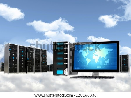 Cloud computing concept. Illustrated with computer  workstation and server cabinet above the cloud - stock photo