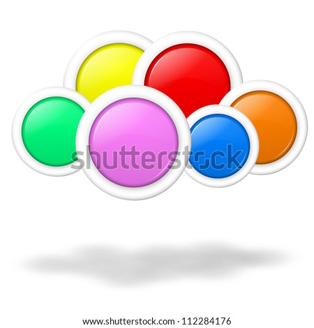 Cloud computing concept illustration formed by blank colorful buttons