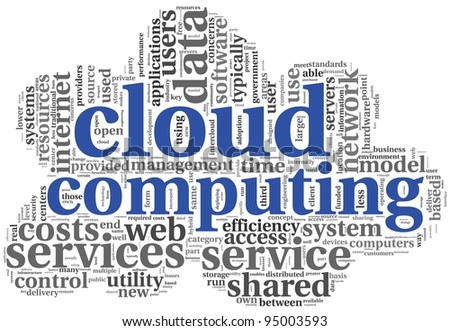 Cloud computing concept in word tag cloud on white in cloud shape - stock photo