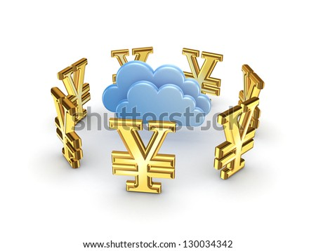Cloud computing concept.Isolated on white background.3d rendered. - stock photo