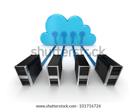Cloud computing concept.Isolated on white backgrpund.3d rendered. - stock photo