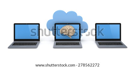 Cloud computing concept. Isolated on white, 3d rendered.