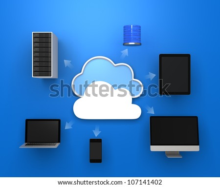 cloud computing concept on blue background