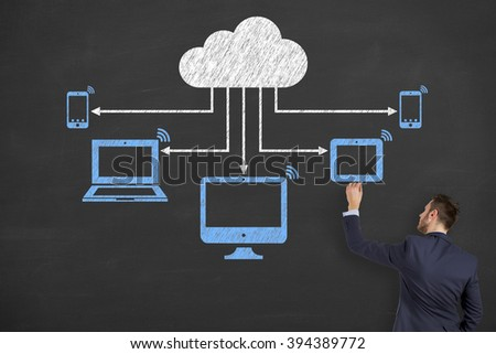 Cloud Computing Concept on Chalkboard - stock photo